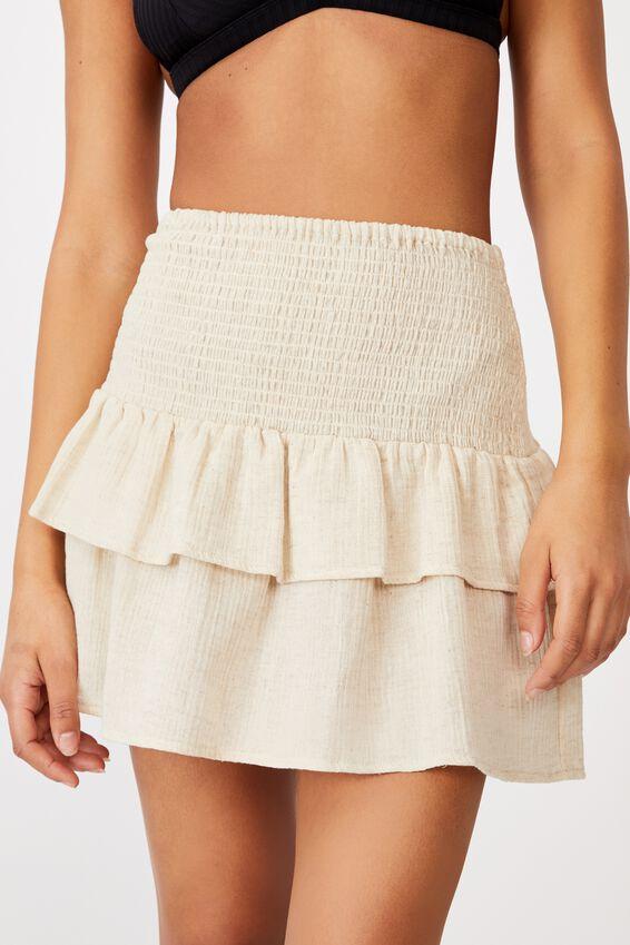 Shirred Beach Skirt, NATURAL