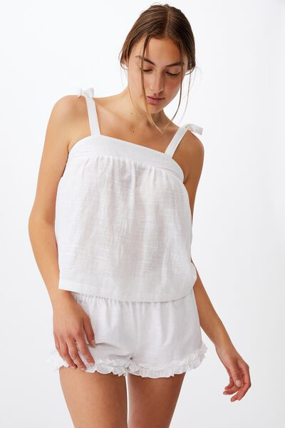 Woven Bed Cami, WHITE
