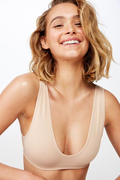 Seamfree Rib V Neck Crop, LATTE