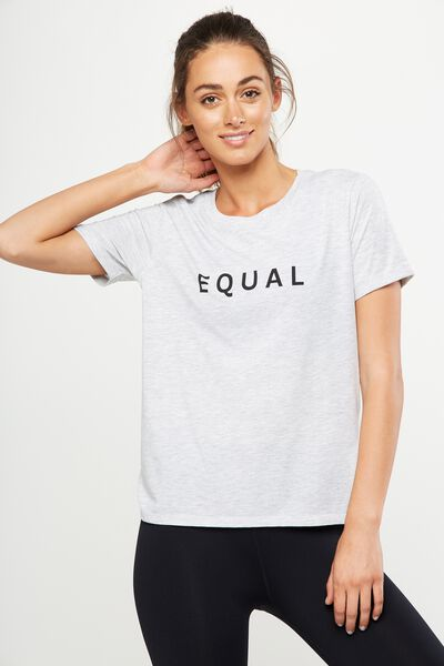 Slogan T Shirt, GREY MARLE/EQUAL