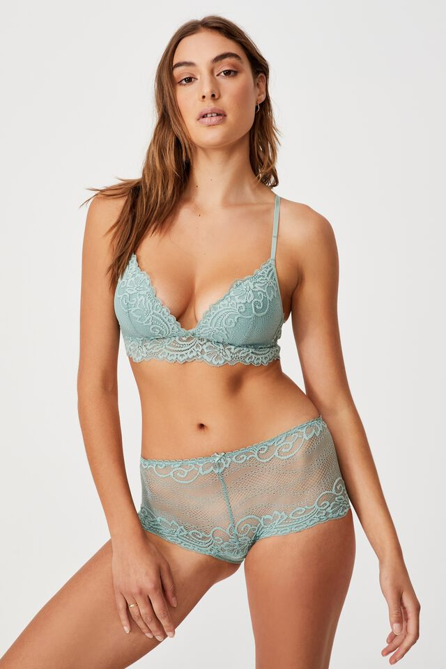 Ainsley Lace Shorty Brief, SMOKED GREEN