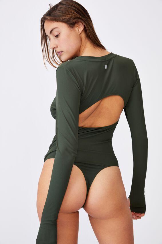 Open Back Bodysuit, KHAKI