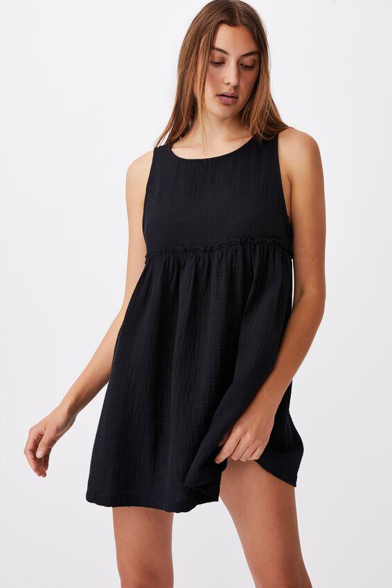 Drop Armhole Beach Dress, BLACK