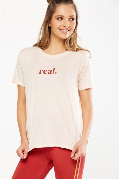 Slogan T Shirt, SANDSTONE/REAL