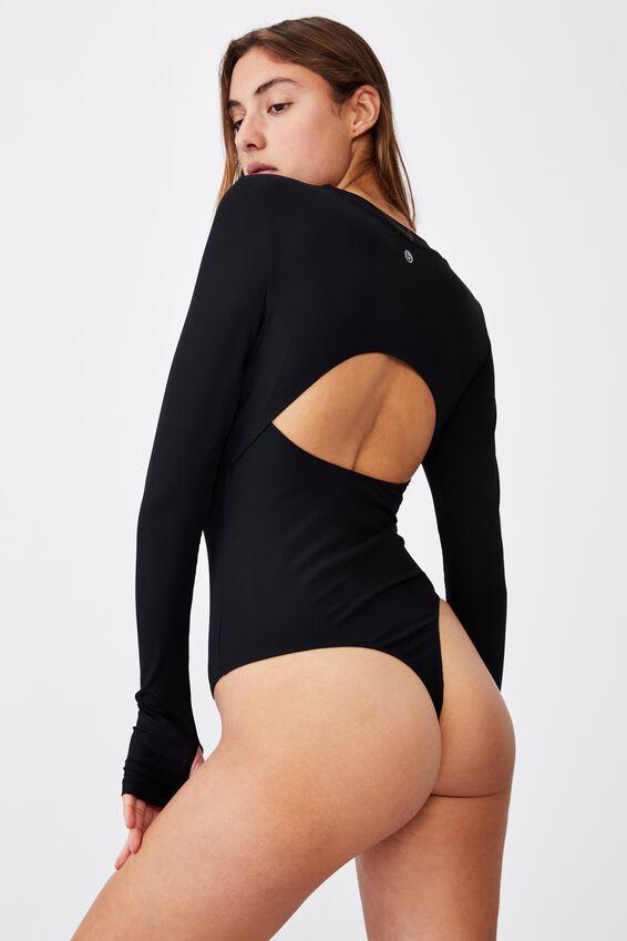 Open Back Bodysuit, BLACK