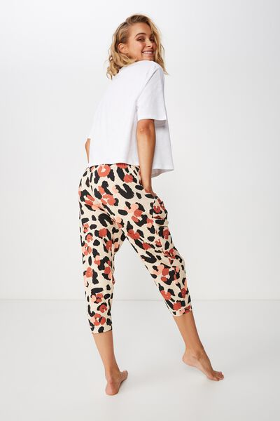 Jersey Cropped Cuffed Pant, LAYERED LEOPARD