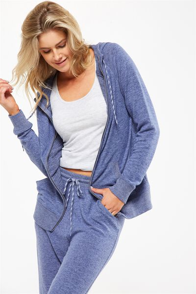 Super Soft Zip Raglan Hoodie, FROSTED BLUE MARLE