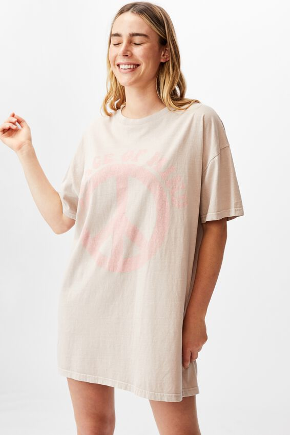 Organic Cotton 90S T-Shirt Nightie, PEACE OF MIND/WASHED MUSHROOM
