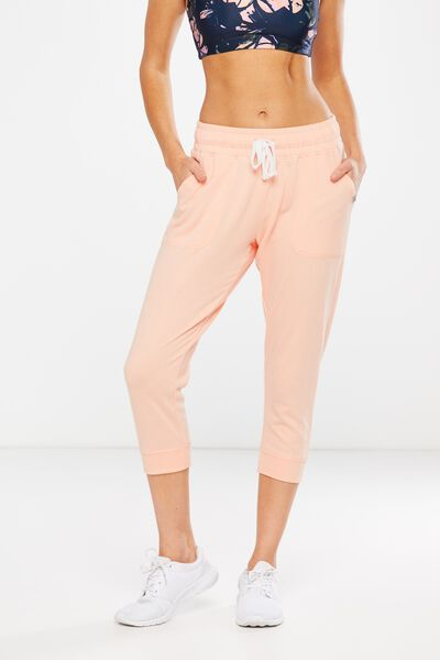 Cropped Gym Track Pants, SOFT CORAL