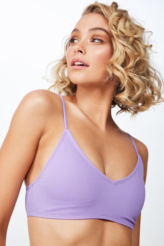 Lucie Rib V Neck Bralette Bikini Top, VIOLET FIZZ