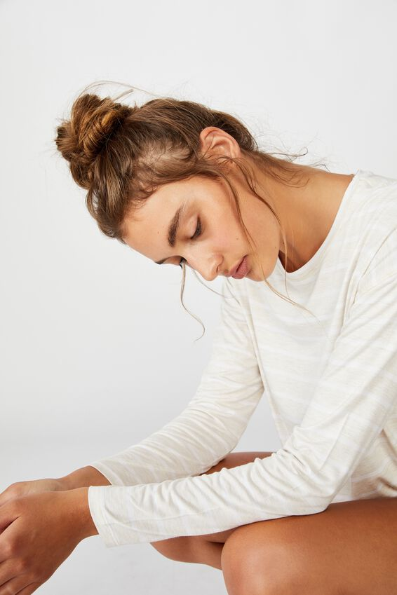 Sleep Recovery Long Sleeve Top, PORRIDGE STRIPE