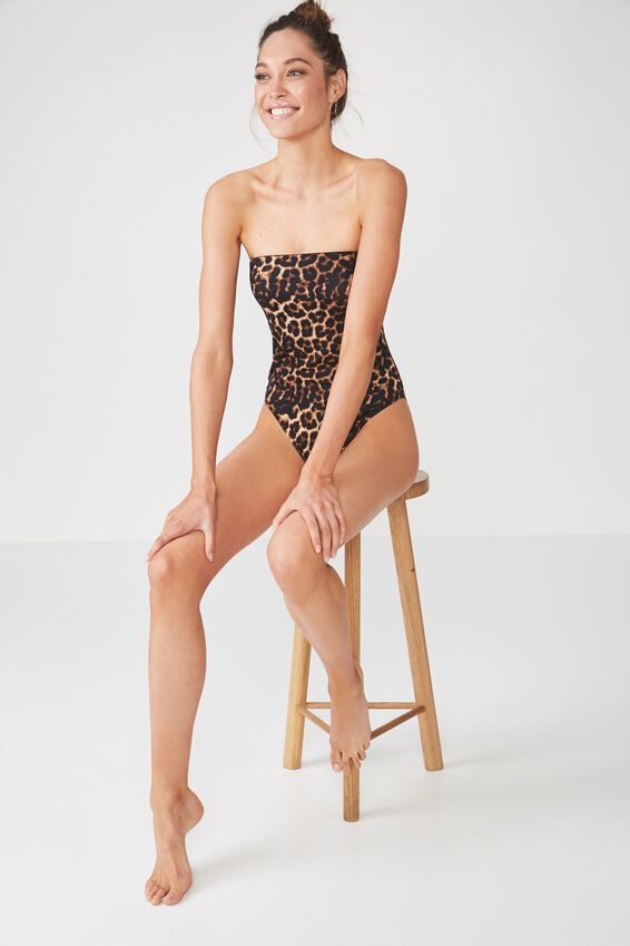 Strapless One Piece Cheeky, LEOPARD