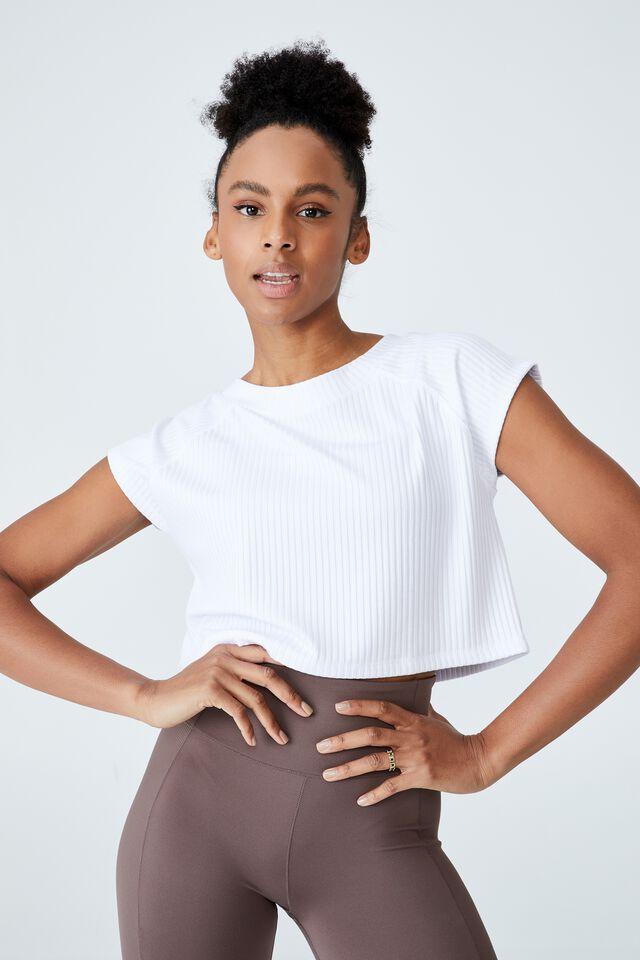 Rib Cropped T-Shirt, WHITE