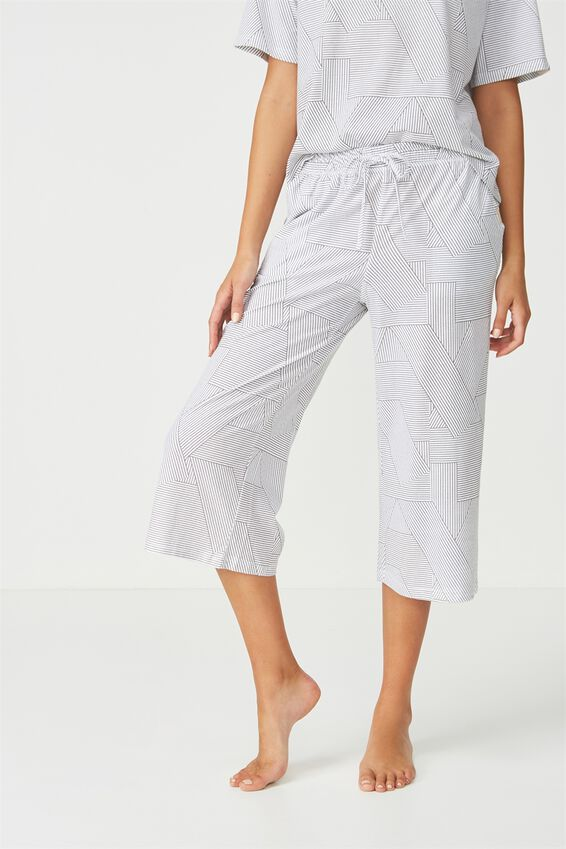 Cropped Wide Pant, SPLICEY STRIPE WHITE