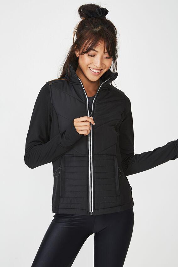 Active Slimline Puffer Jacket, BLACK