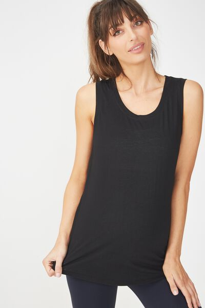 Maternity Slouchy Scoop Neck Tank, BLACK