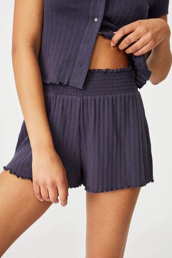Knit Pointelle Bed Short, PHANTOM