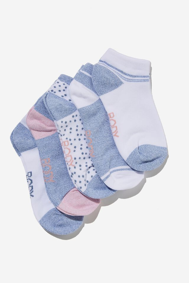 5Pk Body Ankle Cut Sock, COPEN BLUE/PINK ALMOND