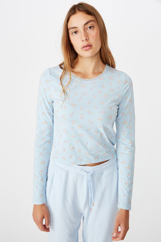 Bed Time Jersey Top, BLOOM DITSY SOFT BLUE
