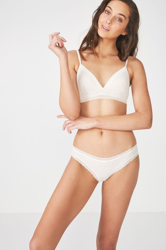 Rib & Lace Bikini Brief, NATURAL MARLE