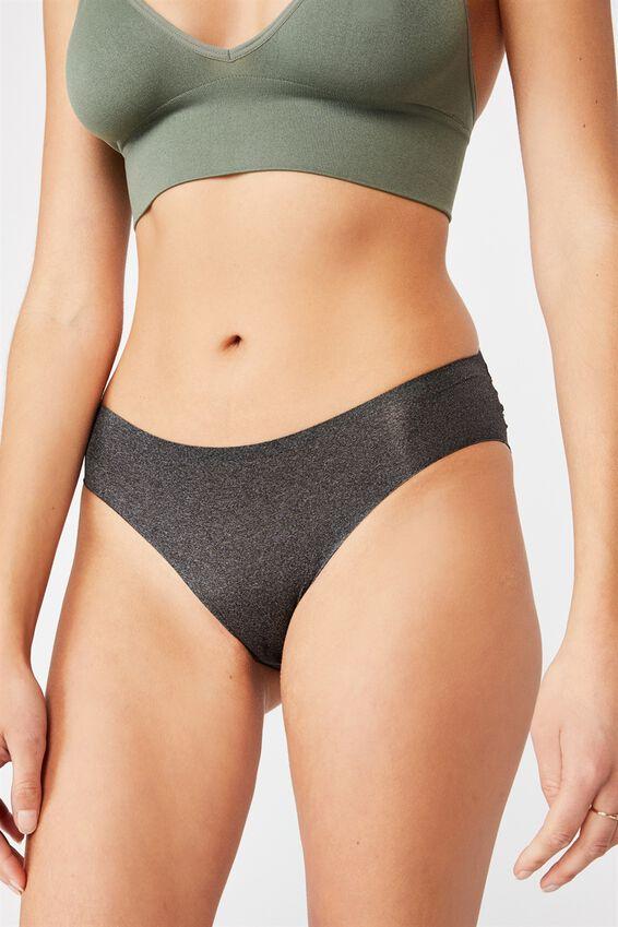 Party Pants Seamless Bikini Brief, CHARCOAL/BLACK