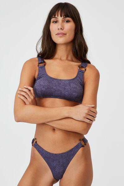 Side Ring Hipster Brazilian Bikini Bottom, IRON PETALS JACQUARD/RINGS