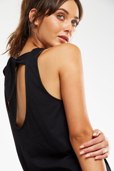 Scooped Knot Tank Top, BLACK