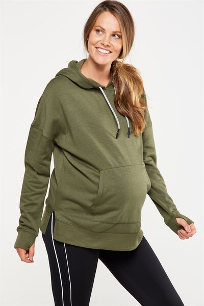 Maternity Hoodie, OLIVE GREEN