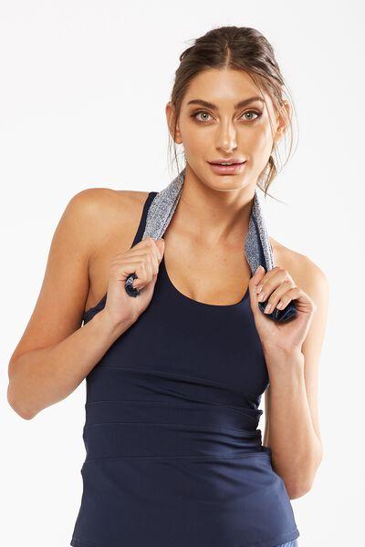Active Zip Towel, ALPINE BLUE MARLE