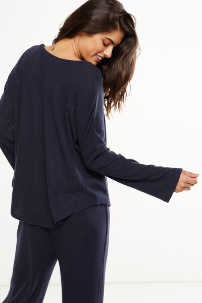 Super Soft Relaxed Crew Top, NAVY BABY MARLE