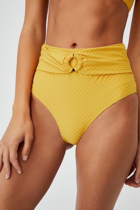 Belted Boyshort Swim Bikini Bottom Terry, BRIGHT GOLD TERRY SPOT