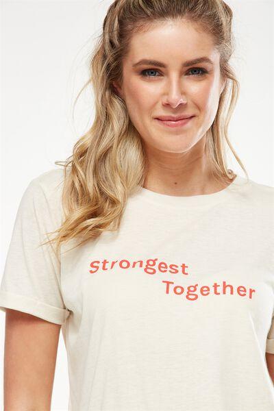 Slogan T Shirt, LIMESTONE/STRONGEST TOGETHER