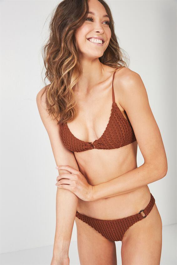 Celeste Ring Triangle Bikini Top, COCONUT HUSK