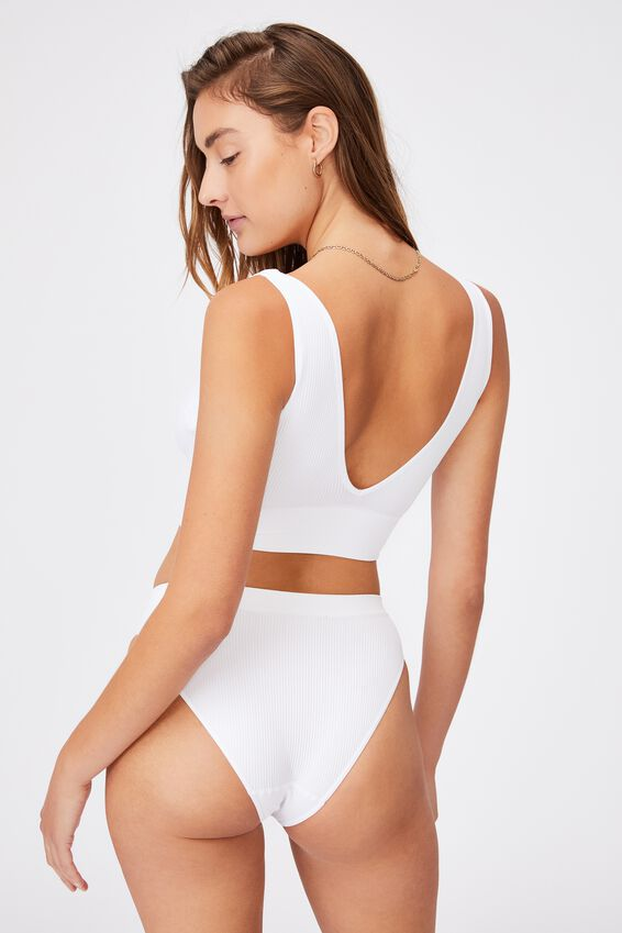 Seamfree Reversible Crop, WHITE