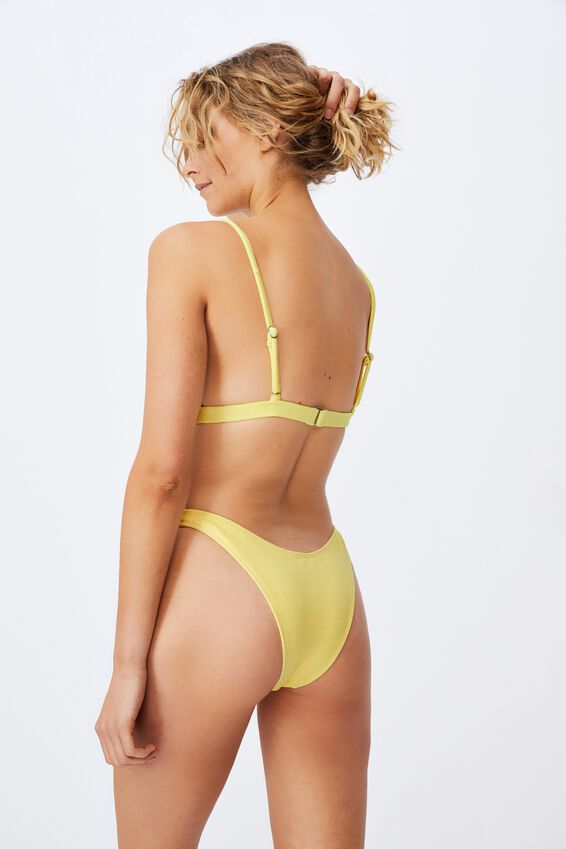 Fixed Triangle Bikini Top Terry, LEMON TERRY