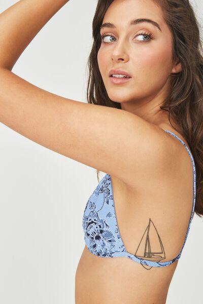 Minimal Strappy Triangle Bikini Top, RIVIERA BLUE PAISLEY
