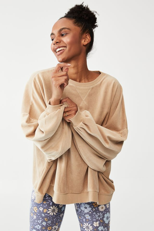 Luxe Bed Velour Pullover, LINEN TAUPE