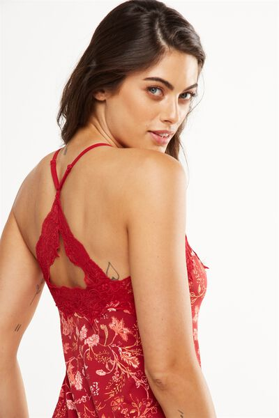 Lace Back Slinky Nightie, ORNATE HARVEST REDWOOD