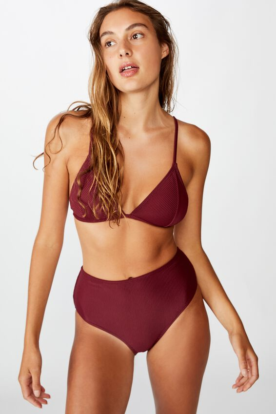 Fixed Triangle Bikini Top, MERLOT RIB