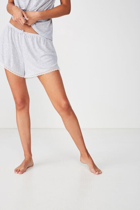 Rib Lace Short, GREY MARLE