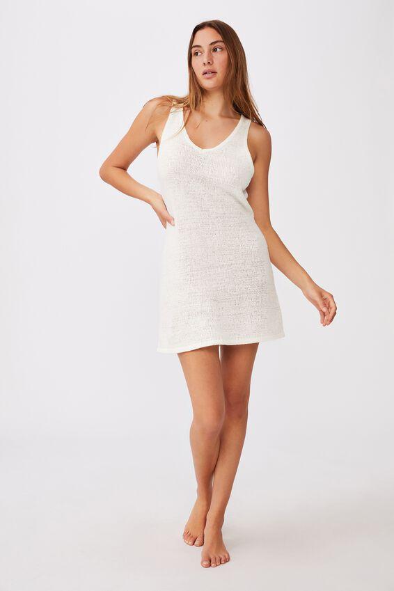 Summer Lounge Slip Dress, WHITE