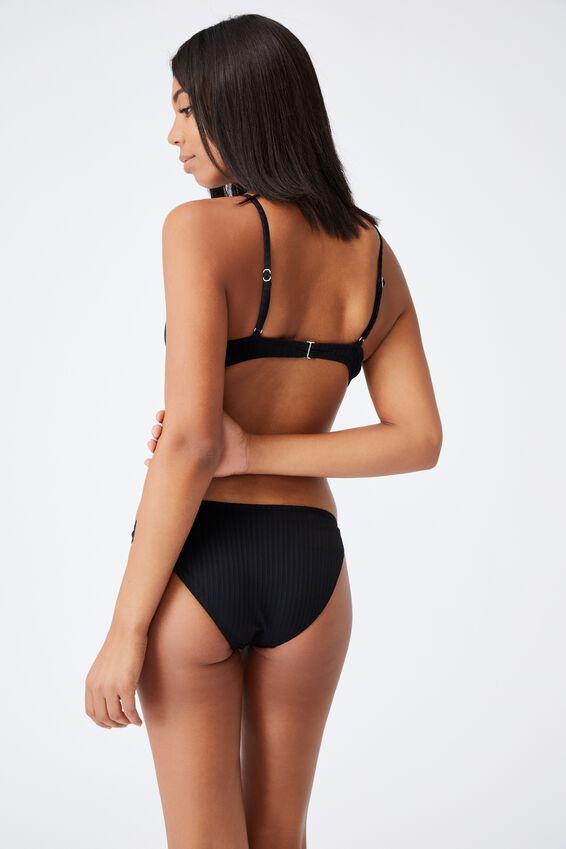 Half Wire Bralette Bikini Top Rib, BLACK RIB 21