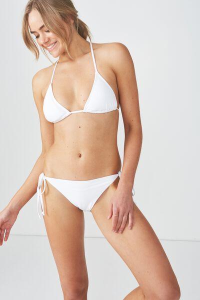 Tie Side Seamless Cheeky Bikini Bottom, WHITE