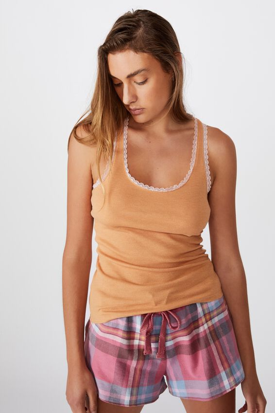 Lace Racer Back Tank, BISCUIT MARLE