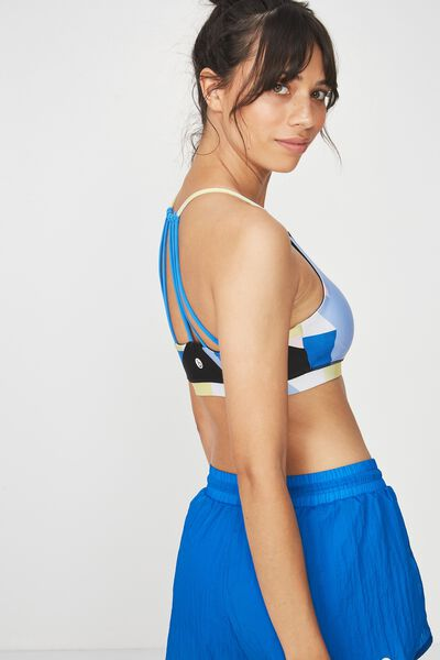 Essential Strappy Sports Crop, COLOURBLOCKED BLUE JEWEL