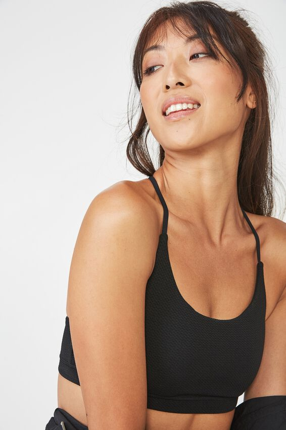Essential Strappy Sports Crop, BLACK TEXTURE