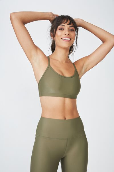 Workout Yoga Crop, OLIVE BRANCH SHIMMER