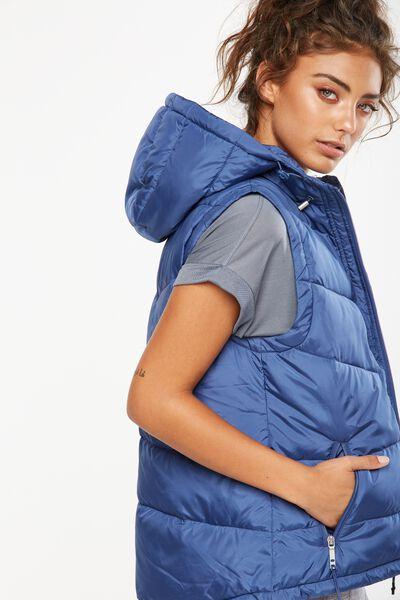 Hooded Puffer Vest, ALPINE BLUE