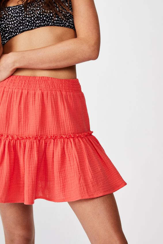 Ruffle Tiered Beach Skirt, SPICY RED
