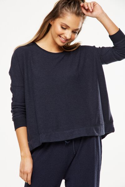 Super Soft  Lounge Top, NAVY BABY MARLE